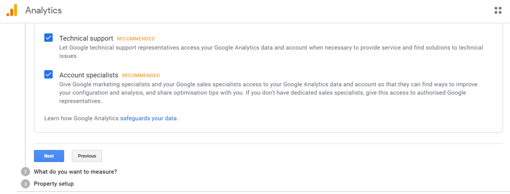 set up google analytics second step-what do you want to measure