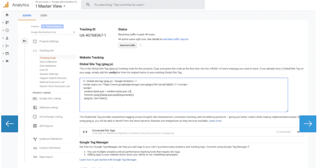 tracking code page inside google analytics
