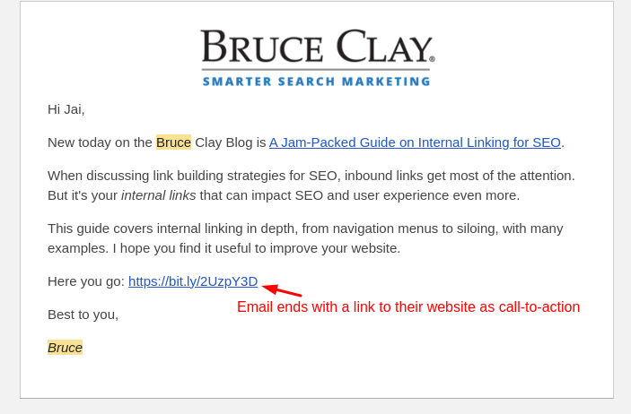 cold email call to action example from bruce clay's email